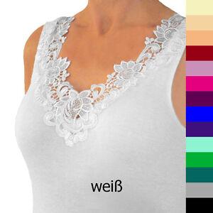 01 Hübsches Damen Unterhemd mit extra breiter Spitze versch. Größen und Farben