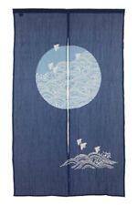 Noren Door Curtain Chijimi Wrinkle effect Navy Blue Bird & Wave Made in Japan