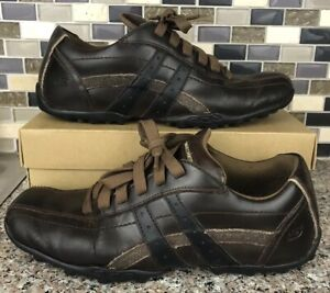 Skechers Mens Talus Burk 63384 Brown Leather Shoes Fashion Sneakers US 8.5