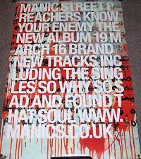 """MANIC STREET PREACHERS U.K. REC COM PROMO POSTER """"KNOW YOU'RE ENEMY"""" ALBUM 2001"""