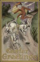 Easter Fantasy Non-Traditional Fairy Pulled by Rabbits c1910 Postcard
