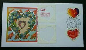 [SJ] France Valentines 1999 Heart Love Rose Flower (stamp FDC) *odd shape