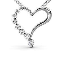 1.00 ct Journeys Heart Love Shape Round Cut Diamond Pendant   Necklace
