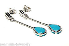 9ct White Gold Turquoise Teardrop Earrings Gift Boxed Made in UK Christmas Xmas