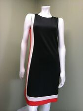 Tommy Hilfiger Women's Black Dress W/ Orange & White Stripes~ Size 4