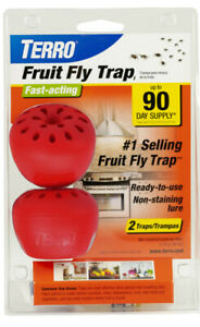 New TERRO 2pk Fruit Fly Trap Killer Lures & Traps NON TOXIC Indoor Outdoor T2502