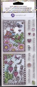 HAMPTON ART Coloring clear stamp set FLOWERS & BIRDS Butterfly Dragonfly Phrases