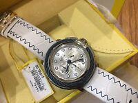 24441 Invicta Bolt Mens 52mm Quartz Chronograph Silver Dial Leather Strap Watch