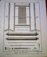 21-37-3 Gravure XVIIIe Tapis de Turquie métier à faire meubles Panckoucke 1783
