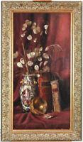 19th c. Antique British School Photo-realism Still Life Oil/Canvas Chinese Vase