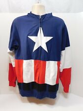 MARVEL Captain America Men's Full Zip Masked Hoodie Jacket Size Large pre-owned