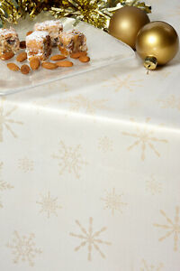 CHRISTMAS TABLECLOTHS CREAM / GOLD SNOWFLAKE Many Sizes Xmas Damask Design