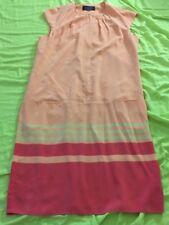 Magaschoni Silk Sheath Dress s/ 12 1/3 Sleeves c/ pink & Orange
