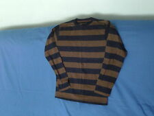 Boys 11-12 Years - Navy Blue/ Tan Brown Striped Long Sleeve Top