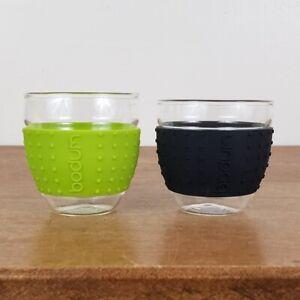 Set of 2 BODUM Pavina 3 Oz Glass Silicone Sleeve Espresso Cups