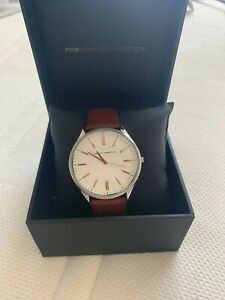 French Connection FC1244C Used White Dial and Brown Leather Strap