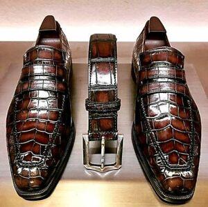 Men Handmade Brown Alligator Texture Leather Moccasin Shoes, Formal Dress Shoes