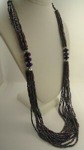 Lee Sands Wacky Glass Seed Beads w Faceted Glass Accent Bead Necklace