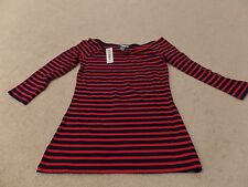 Girls, Old Navy, LS Top, Blue and Red Stripes, Size:Small-Petite, New with Tags