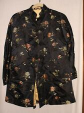Vintage Dynasty  jacket Made in Hong Kong BCC black /floral size s ?silk