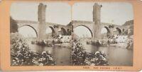 Pont Orthez Francia Foto J.Andrieu Stereo Vintage Albumina c1868