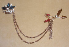Rhinestone Chatelaine Pin featuring Crown, Sword, & Arrow