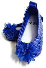 """Royal Blue Sequin Flat Shoes w/Flower made to fit 18"""" American Girl Doll Clothes"""