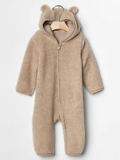 NEW Baby GAP Boys 0-3 mos Bear Sherpa Jersey Lined Zip Hoodie One Piece