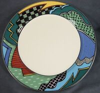 Christopher Stuart Rave HK100 Dinner Plate Optima Multicolor Rim (C) Please Read