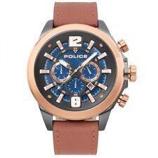POLICE Klevan Blue Rose Gold Chronograph Dial Tan Leather Watch PL.15655JSUR/03
