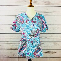 Aqua blue and pink paisley pattern v-neck scrub top by Med Couture size small