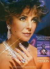 Publicité Advertising 1988  Parfum  PASSION  de ELIZABETH TAYLOR'S