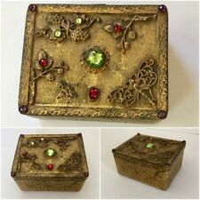 Antique Jeweled E & J B Empire Art Gold Casket Trinket Box Dragonflies 1920s