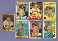 7 Cards Lot ~ Warren Spahn 1958 1959 1960 1961 1962 Topps HOF Low-Mid Grade