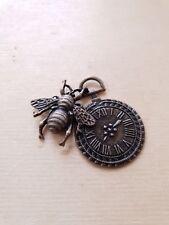 Retro Uhr Anhänger mit Biene für Ketten ♥ Steampunk Schmuck Deko Charms Bronze