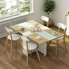 Home Folding Extendable Dining Table with Cabinets 6 Wheels Movable Dinner Table