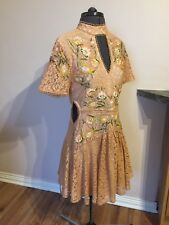BRAND NEW EX TOPSHOP TURTLE NECK LACE EMBROIDERED ORANGE DRESS 10 38 8