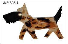 VINTAGE FRENCH SIGNED JMP CARVED RESIN TERRIER DOG PIN BROOCH -ANIMAL PRINT