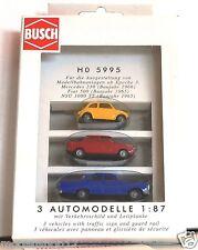 Busch h0 5995 3 Automodelle MERCEDES 230 FIAT 500 NSU 1000 TT nuovo OVP RARO