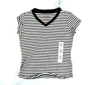 Cat & Jack Girls White Black Stripe T Shirt Kids Short Sleeve V Neck Size XS 4/5
