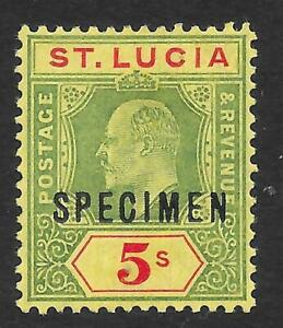 St Lucia 1907 5/- Green & Red/Yellow with Specimen Overprint SG 77s