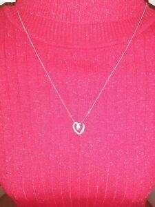 375 9ct Italian White Gold Chain And Heart Pendant Beautiful