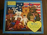 NEW Charles Wysocki 1000 Puzzle Patriotic Stuffy Bunch Teddy Bear Americana