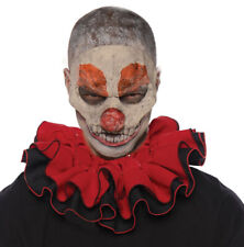 Clown Red Black Mens Adult Creepy Evil Jester Costume Accessory Collar-Red/Blk