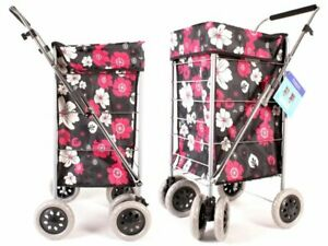 New 6 wheel shopping trolley Red Black Flower large cart foldable laundry