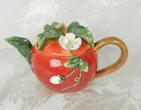 Ceramic Apple Teapot Figural Red Majolica White 3D Blossoms