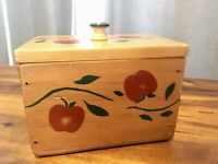 Vintage Hand Made Painted Wood Apple Recipe Cooking Box with Cards