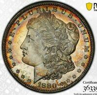 1880-S USA MORGAN SILVER DOLLAR PCGS MS63 UNC CHOICE TONED GEM COLOR BU #2 (DR)