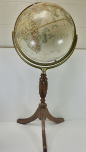 Vtg. National Geographic George F. Cram Floor Globe on Ornate Wood Stand 15 Inch