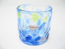 Waves-of-flower-petal Rocks Glass Blue(Handmade in Okinawa, Japan)